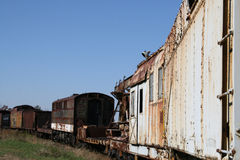 Old Train Cars. Out in the field with paint peeling and rust formation. Southeastern Railroad Museum, Duluth Ga Stock Photos