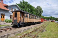 Old train cars. Old passenger train or rail car at station in Sweden Stock Photo