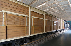 Old Train Cars. On the platform,museum Royalty Free Stock Photo