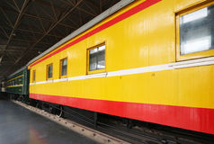 Old Train Cars. On the platform,museum Royalty Free Stock Image