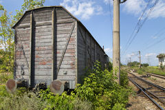 Old train cart. View of a old train cart in a abandoned depo Royalty Free Stock Image