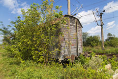 Old train cart. View of a old train cart in a abandoned depo Royalty Free Stock Photo