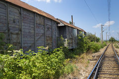 Old train cart. View of a old train cart in a abandoned depo Royalty Free Stock Photos