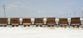 Old Train in Chaka Salt Lake Stock Image