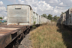 Old train container on cargo Stock Photos