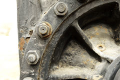 Old train detail. Old retro steam train locomotive in station royalty free stock image