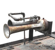 Old train engine air horns isolated Stock Photo