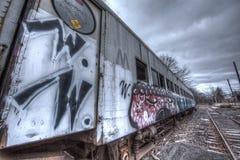 Old train with graffiti Stock Photo