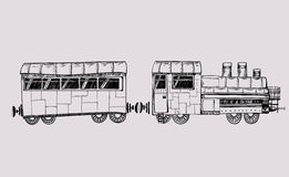 Old train. Graphic illustration with an old train Royalty Free Stock Photography