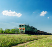 Old train in green landscape Royalty Free Stock Photo