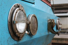 Old train headlight. Closeup of a old train headlight in railstation of Caldas da Rainha - Portugal Stock Photography