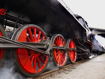 Old Train. Historical Czech Train based on steam engine on arrival at the station Prague-Branik Royalty Free Stock Images