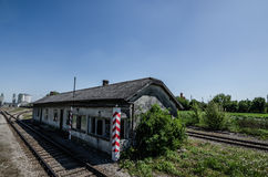Old train house. Old abandoned train house railway points stock image