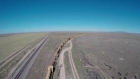 Old train left behind on tracks stock footage