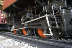 Old Train Locomotive. Wheel on railroad Stock Photo
