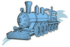 Old train logo. Locomotive drawing. Steam transport. Vector graphics to design Stock Images