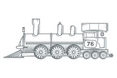 Old train logo. Locomotive drawing. Steam transport. Vector graphics to design Stock Photos