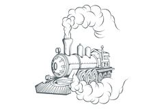 Old train logo. Locomotive drawing. Steam transport. Vector graphics to design Royalty Free Stock Photography