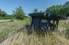 Old train machine on terrain royalty free stock images