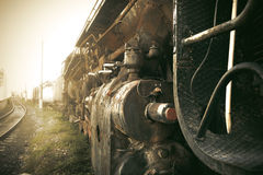 Old train in the mist. Stock Photos