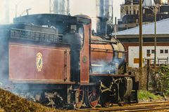Old Train in Motion. MONTEVIDEO, URUGUAY, AUGUST - 2016 - Old train in motion in Montevideo city, Uruguay Royalty Free Stock Image