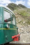 Old train on mountain. View of a old train on mountain. The location is Saint Gervais Le Fayet in France royalty free stock images