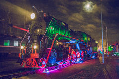 Old train in night. 2016 royalty free stock image