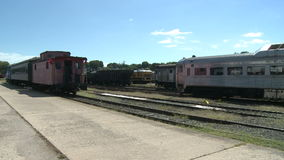 Old train parked for people to look at (1 of 4) stock video footage