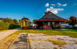 Old train and railroad station in New Oxford, Pennsylvania. Royalty Free Stock Photos