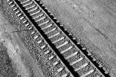 Old train rails from top in black and white. Transportation and logistics Stock Photography