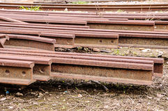 Old train rails. Were placed outside Stock Photo