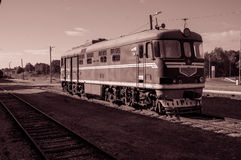 Old train at railway station. Old vintage train at railway station Royalty Free Stock Images
