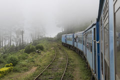 Old Train running into the fog. Ella, Sri Lanka. Old train going into the fog. Ella, Sri Lanka stock image
