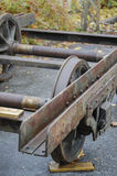 Old train. The old rusty railway structure and wheels Stock Photos