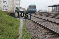 Old train sign. Closeup of a old sign in the railstation of a city of Caldas da Rainha - Portugal Stock Images