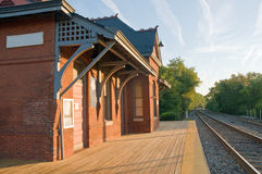 Old train station. An old Victorian Era train station and platform, still in use as a commuter rail station. Laurel, Maryland royalty free stock photo