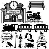 Old train station black icons. Vector illustration of Old train station black icons royalty free illustration