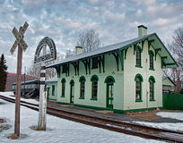 Old train station. And depot in winter Royalty Free Stock Images