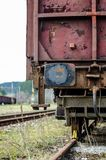 Old train at the station, detail. The machine is rusting royalty free stock image