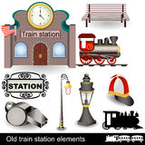 Old train station elements Stock Images