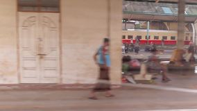 Old train station in Myanmar. stock video footage