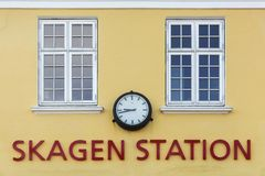 The old train station in Skagen, Denmark. The old train station in Skagen built in the typical architectural style and colors with ochraceous walls, Denmark Stock Images