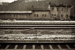 Old train station in winter Stock Images