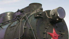 Old train with steam engine closeup stock footage