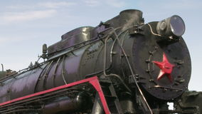 Old train with steam engine closeup stock video footage