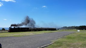 Old train with steam Royalty Free Stock Photography