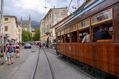 Old train on streets of Soller, Mallorca, Balearic islands, Spain stock photos