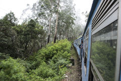 Old Train in tea plantations. Ella, Sri Lanka. Old train going into the fog. Ella, Sri Lanka stock photography