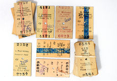 Old Train Tickets. Old Romanian train tickets that are out of circulation Stock Image