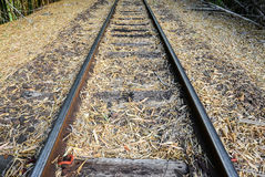 Old train track made of steel, wood and stones. Royalty Free Stock Photography